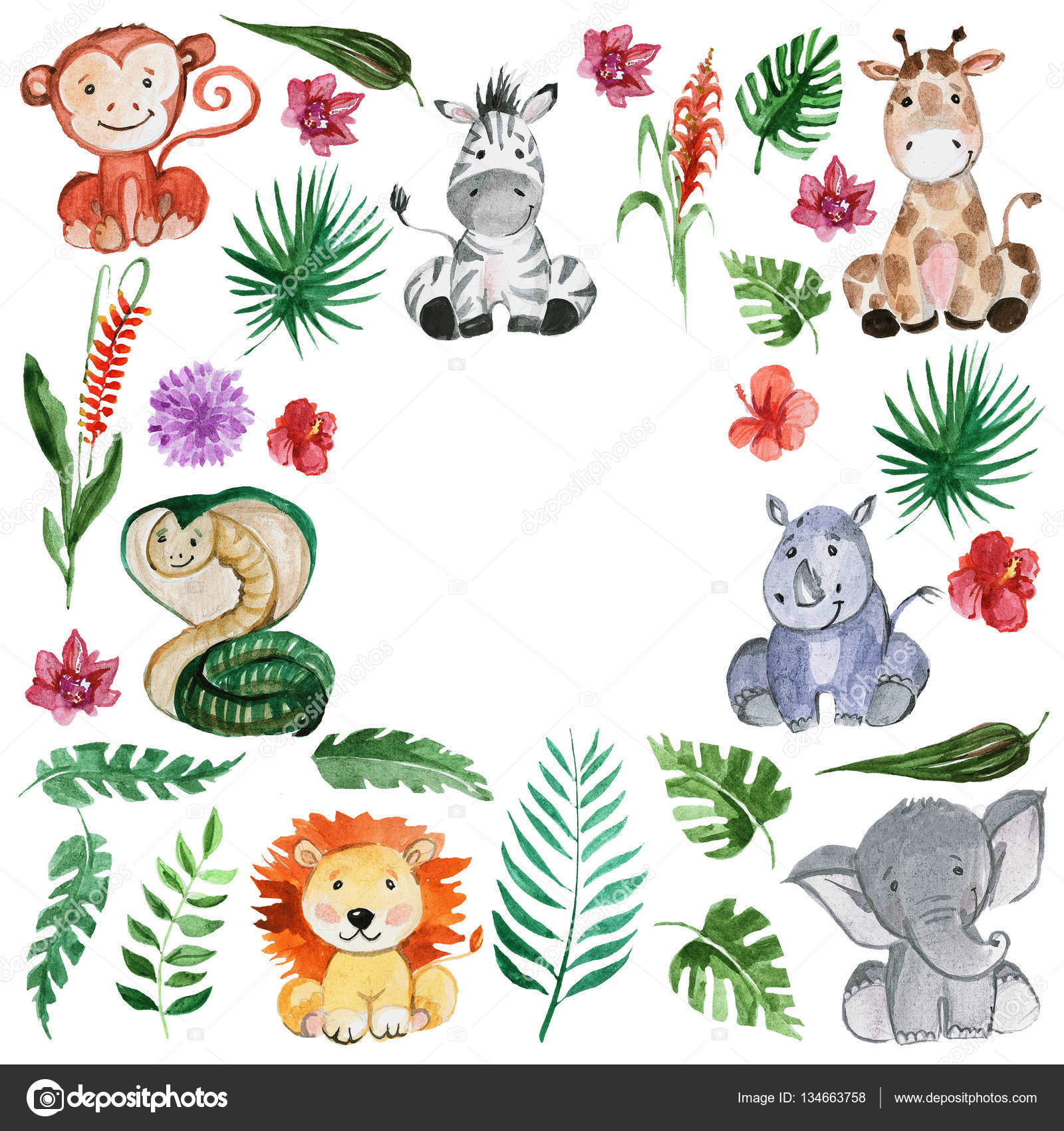Drawn jungle africa Tropical Hand Watercolor Photo jungle