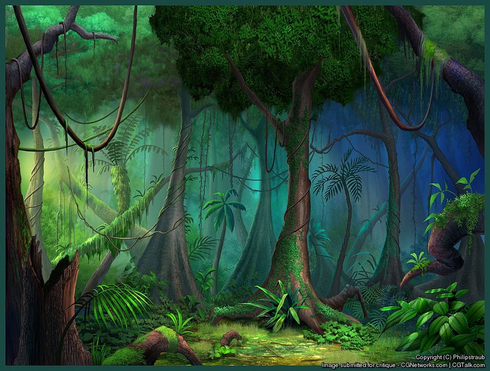 Drawn rainforest animated Plants trees cartoon cartoon jungle