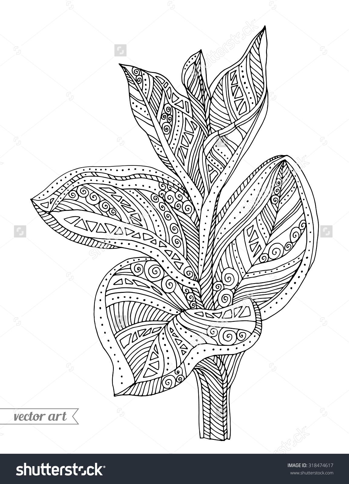 Drawn bush scenery Leaves bush vector branch forest