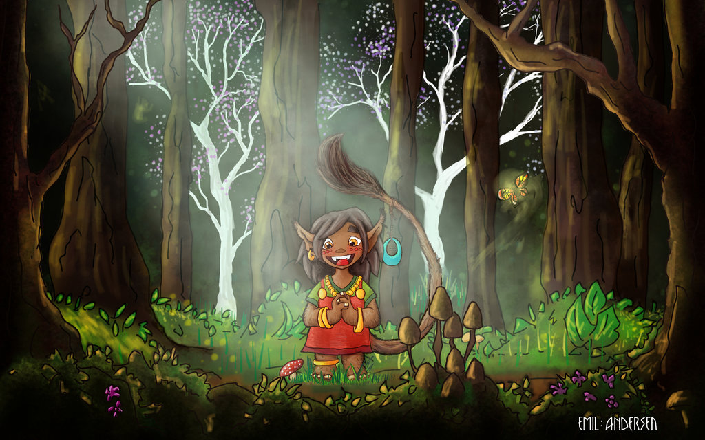 Drawn jungle deep In with 2 troll drawn