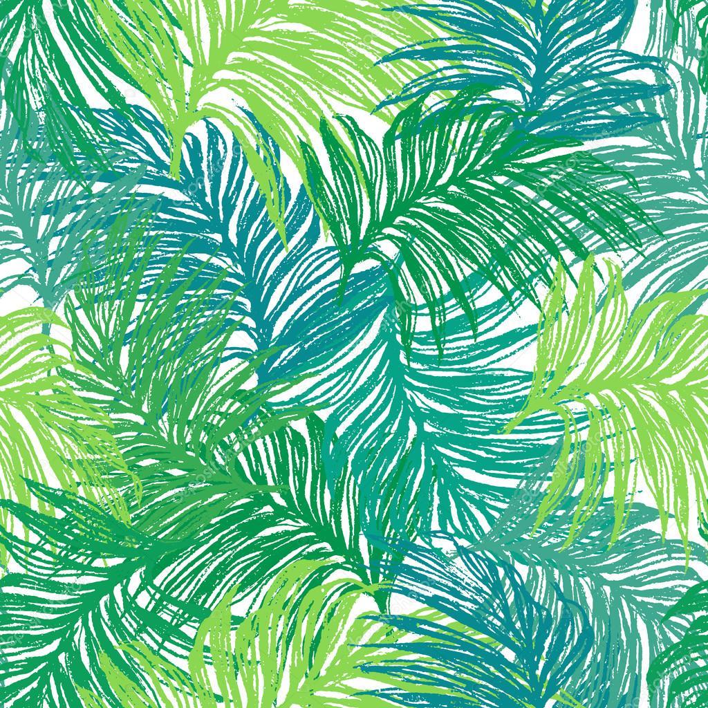 Drawn jungle jungle foliage Seamless  Vector — —
