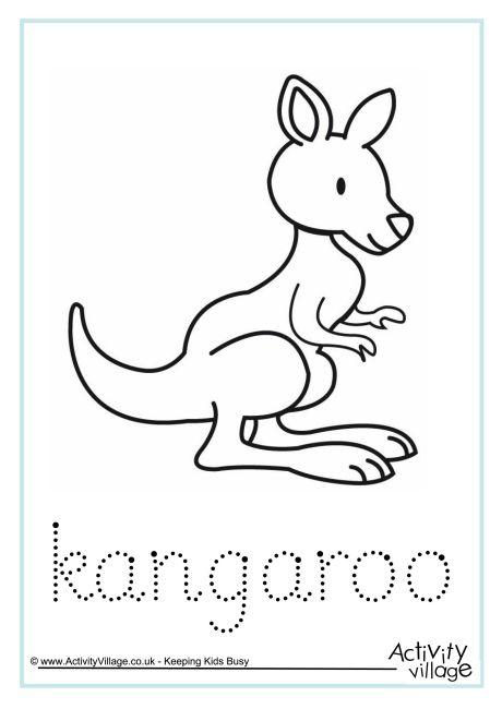 Drawn kangaroo joey kangaroo Kangaroo Printables Kangaroo Word Tracing