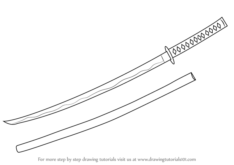 Drawn katana (Swords) Step Drawing a :