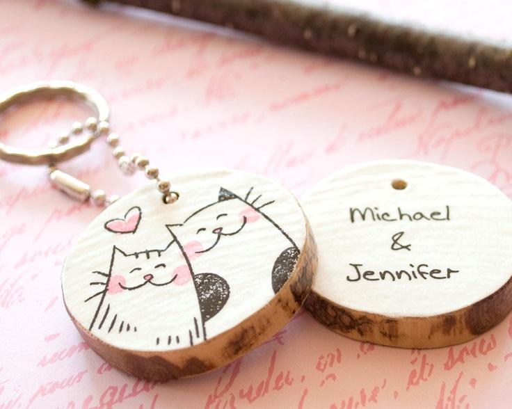 Drawn key Key Couple Heart Custom Chain