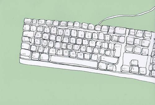 Drawn keyboard Debbie touch  type hill: