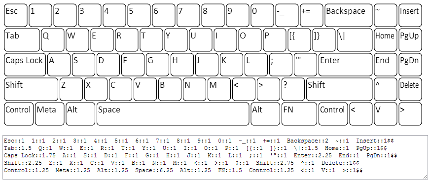 Drawn keyboard Layout Editor Layout Online Example