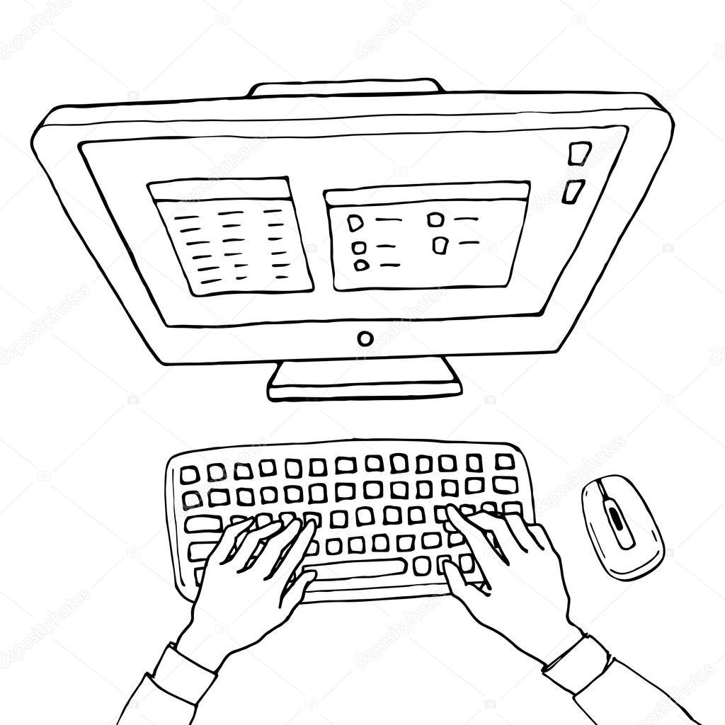 Drawn keyboard outline #89627022 drawn — sketch computer
