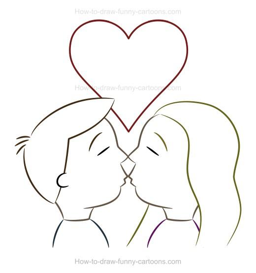 Drawn kiss cartoon Drawing www kissing drawing for