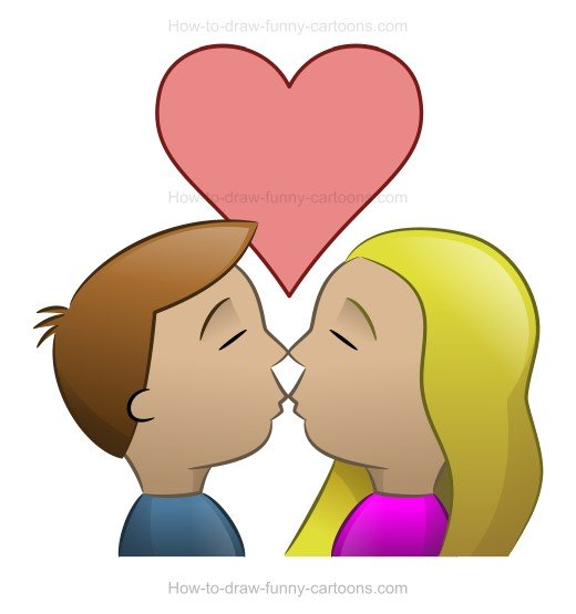 Drawn kiss cartoon Cartoon www kissing cartoon for