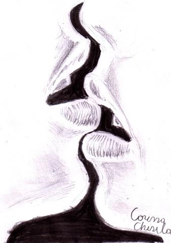 Drawn kiss sensual Sarut in desen kiss creion