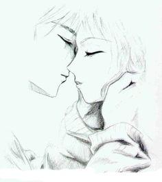 Drawn kisses anime draw Wish Painting  på draw