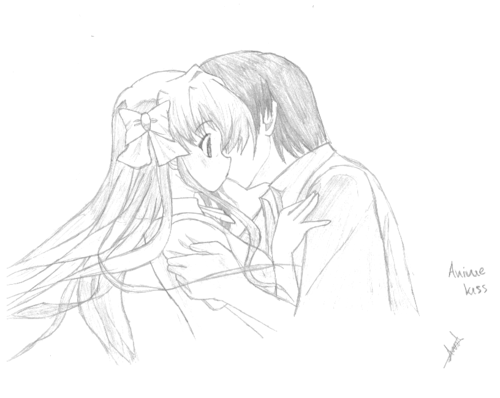 Drawn kisses anime draw Wallpaper wallpaper  kiss kiss