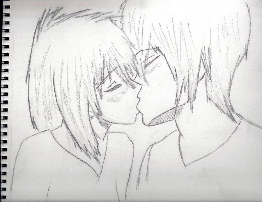 Drawn kisses anime draw Girlfriend girlfriend Kiss boyfriend Anime