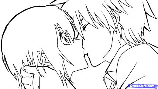 Drawn kisses anime draw Sketch Kiss an Kiss How