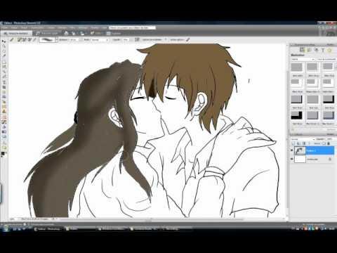 Drawn kisses anime draw I kiss YouTube draw anime