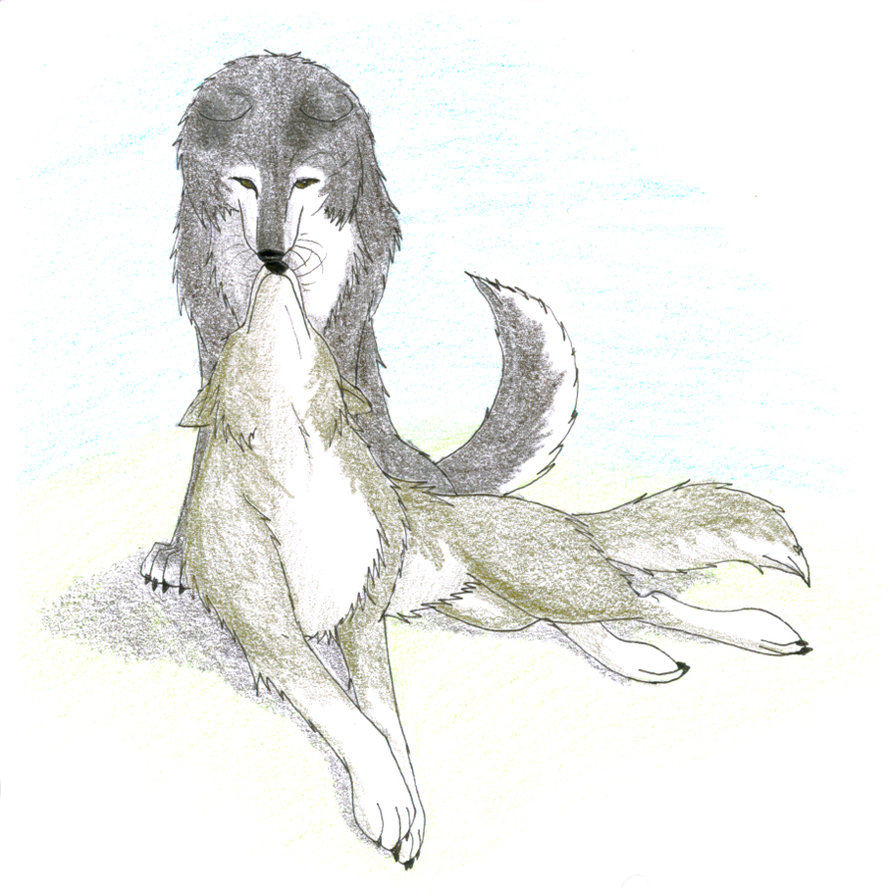 Drawn kisses anime wolf CaptainMorwen on by Wolf of