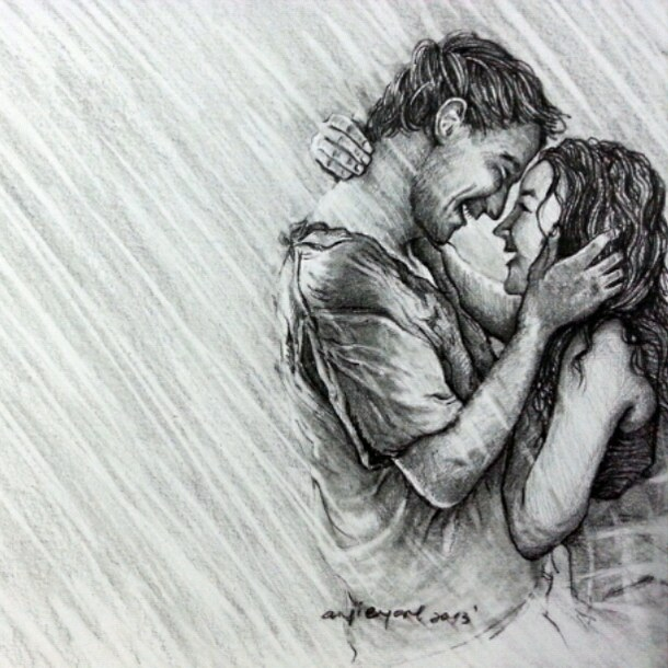 Drawn rain pencil drawing On of sketch and Drawing