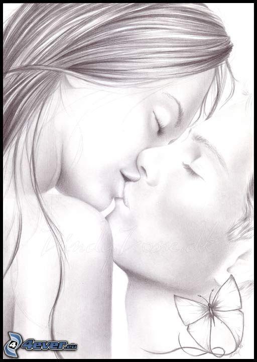 Drawn kiss cartoon Couple love cartoon kiss drawing