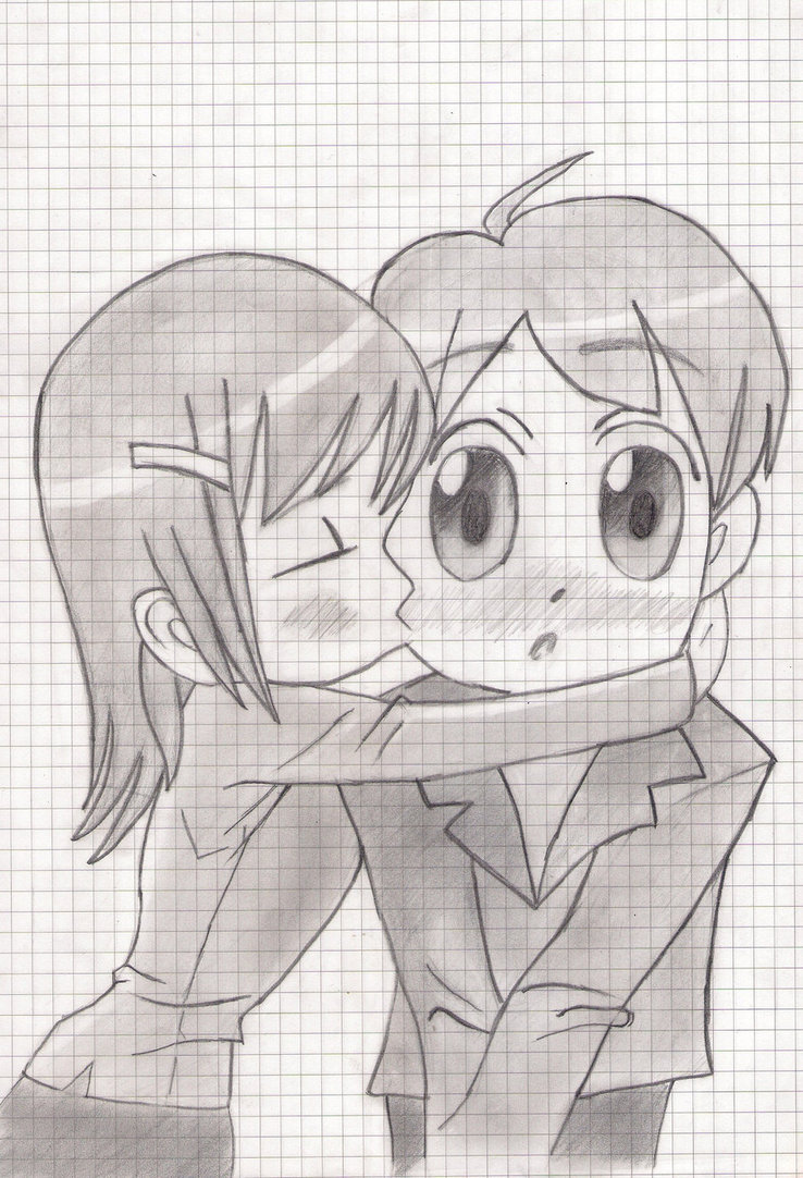 Drawn kisses cheek drawing Chibi DeviantArt Cheek on the