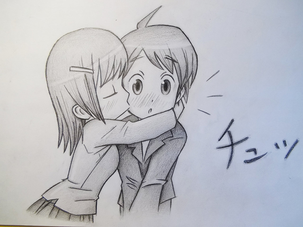Drawn kisses cheek drawing To kissing Kissing Draw Chibis