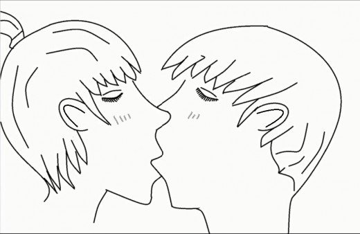 Drawn kisses cheek drawing Pages By Kissing 7832466 Draw