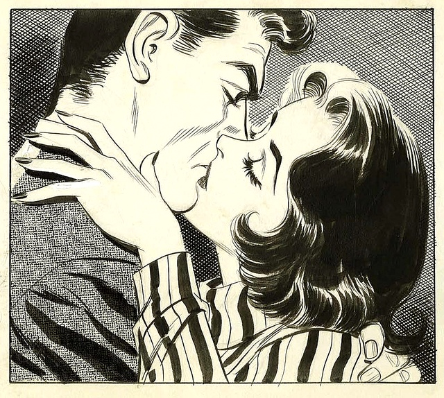 Drawn kisses comic book Comic book style images drawing