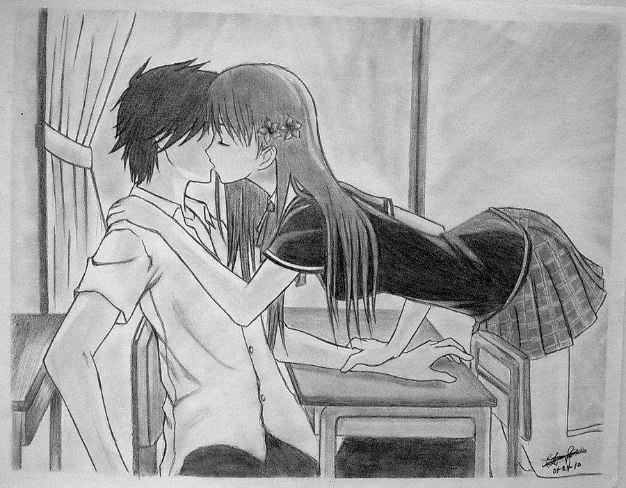 Drawn kisses cute Best Anime images Cuddling Anime