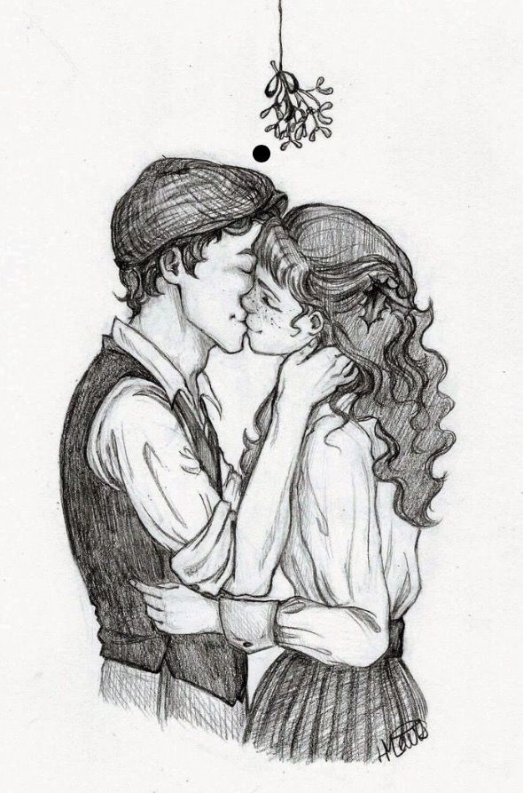 Drawn kisses cute Me drawing Pinterest the mistletoe