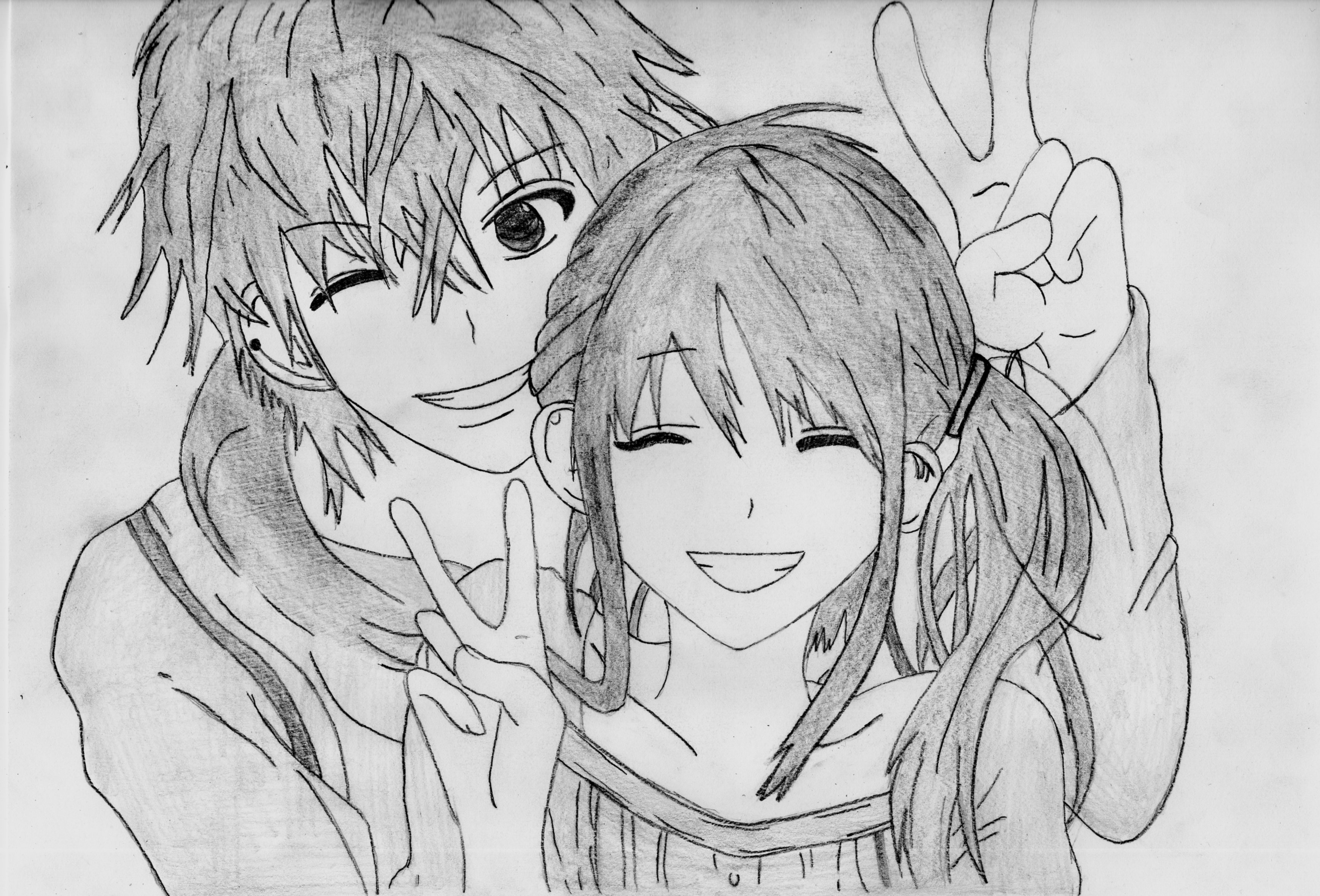 Drawn kisses cute anime Drawings In Drawing Love Drawing