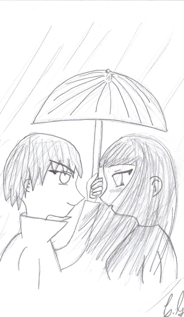 Drawn kisses cute anime Couples Anime Couple by Drawing