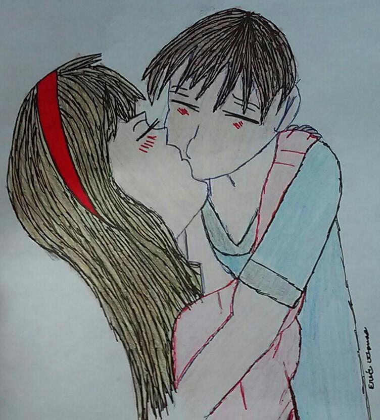 Drawn kisses cute couple Nov 2017 Cute Drawing 2015
