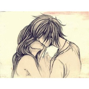 Drawn kisses cute relationship And  Polyvore things couple