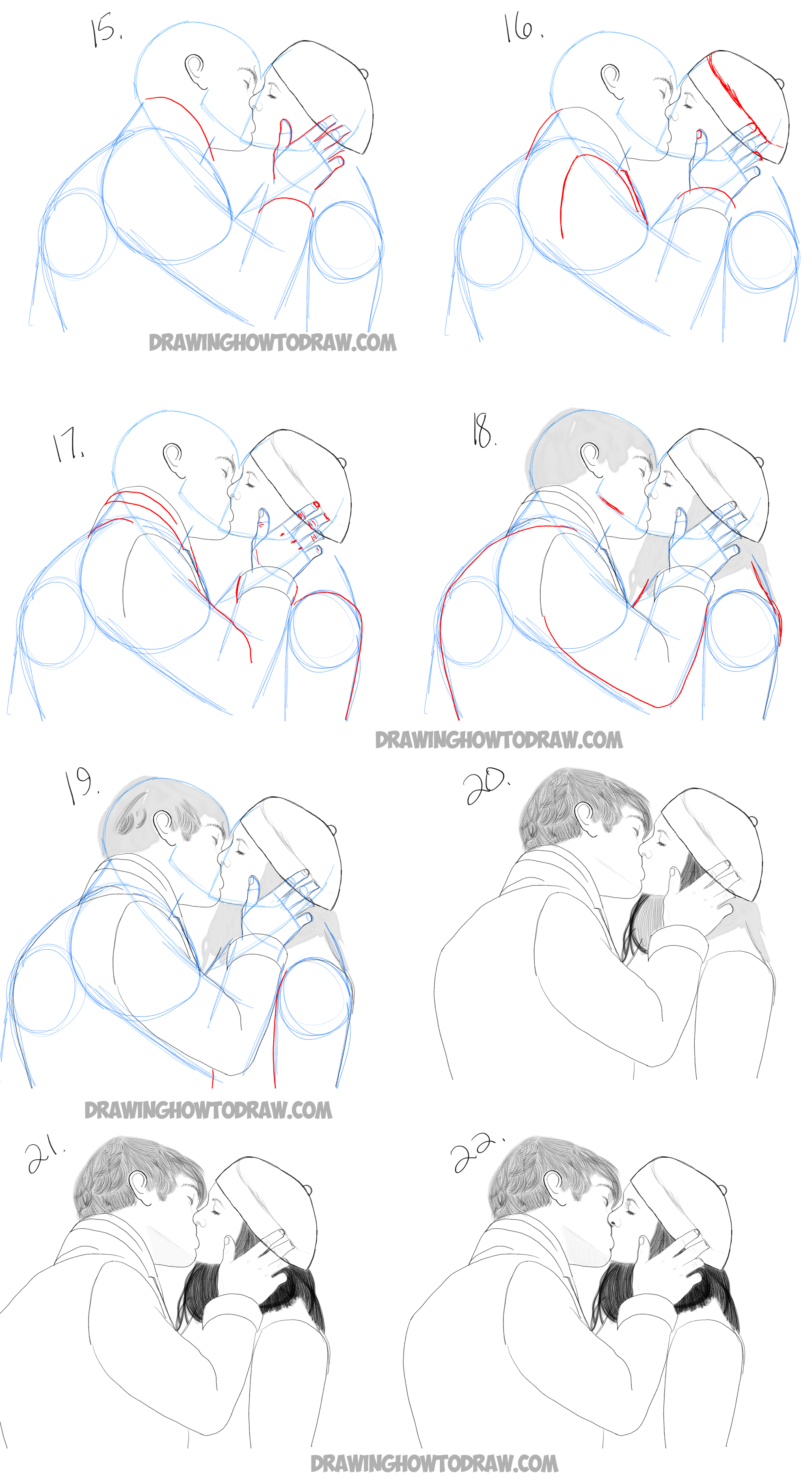Drawn scarf easy People Lovers two kissing love