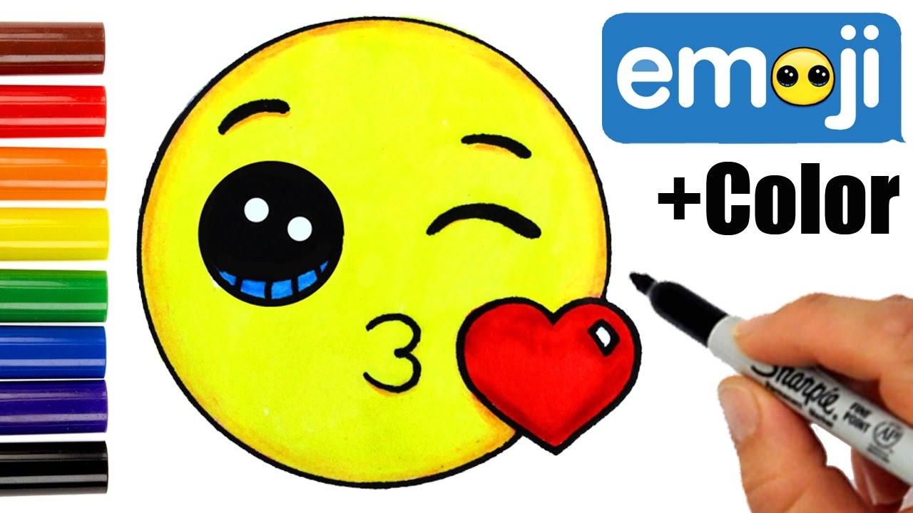 Drawn kisses emoji + How Color Kissing Draw
