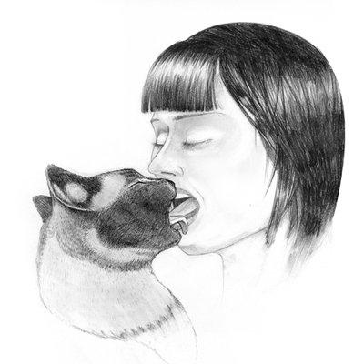 Drawn kisses french kiss Kissing Woman Woman Cat [PIC]
