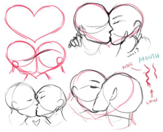 Drawn kisses french kiss Tumblr art DrawingDrawing on Kissing