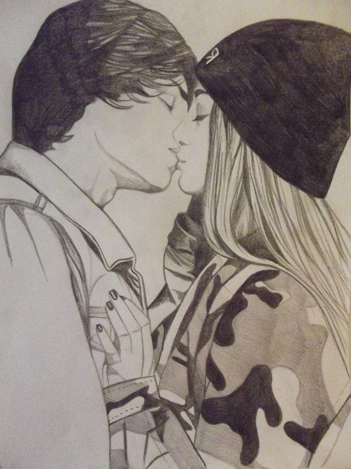 Drawn kisses girlfriend Art 915 forever me on