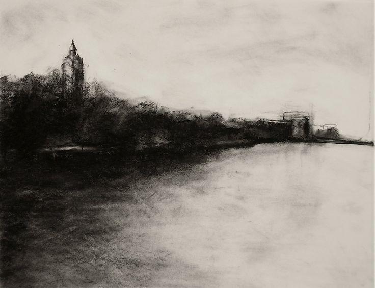 Drawn river pretty landscape Best amazing Charcoal Pinterest industrial