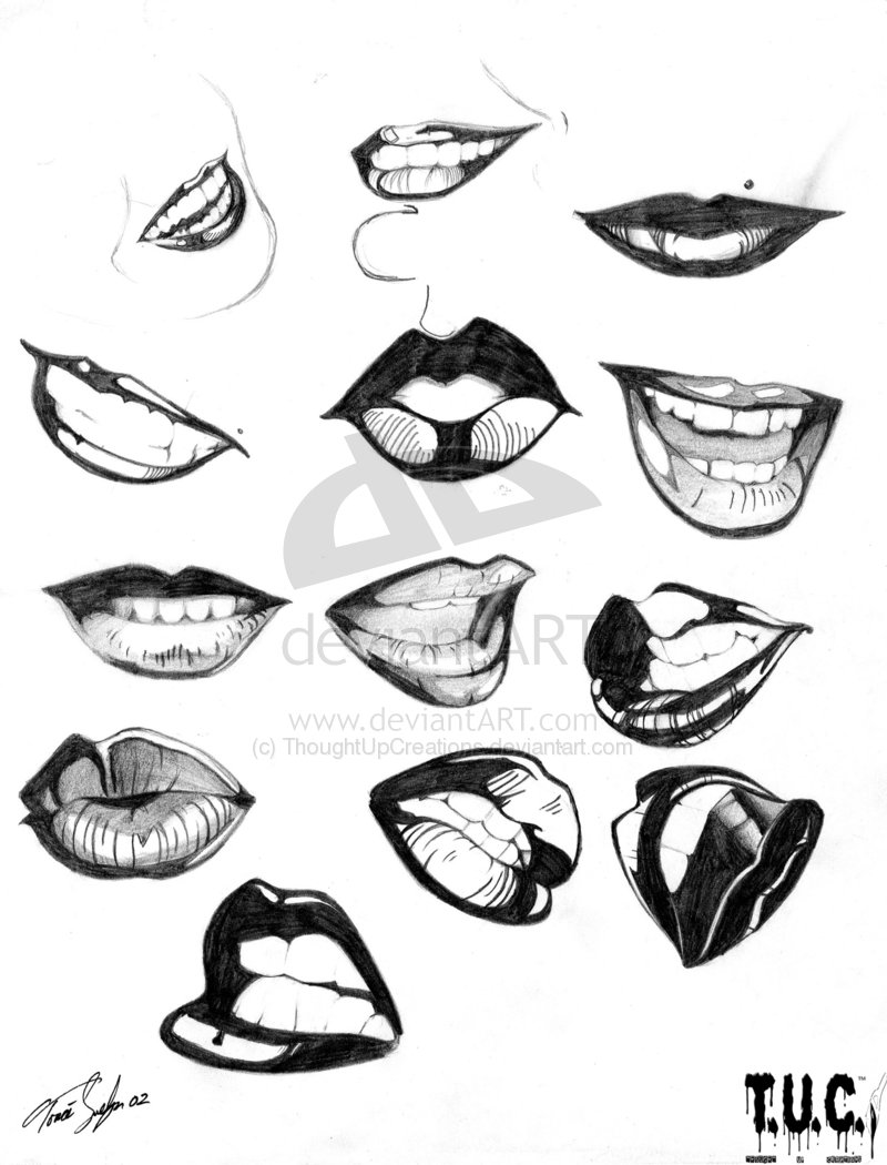 Drawn kisses lip outline & Sketch Sketch Pictures Drawing
