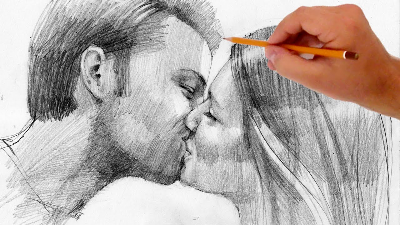 Drawn rain pencil drawing Coloring Full Pages Kissing Drawing