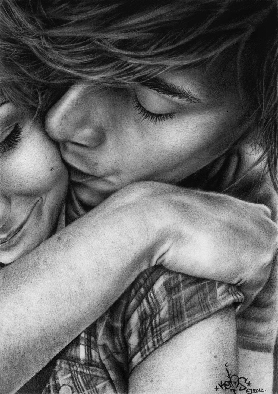 Drawn kisses romantic kissing ~ pencil kiss by me