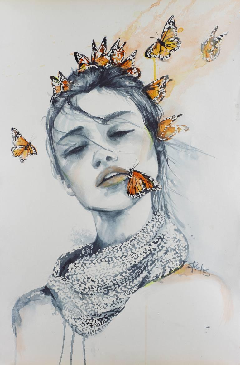 Drawn kisses sarah Art Sara Butterfly Riches Saatchi