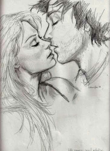 Drawn kisses sketch Girl Sketches Boy Kiss Couples