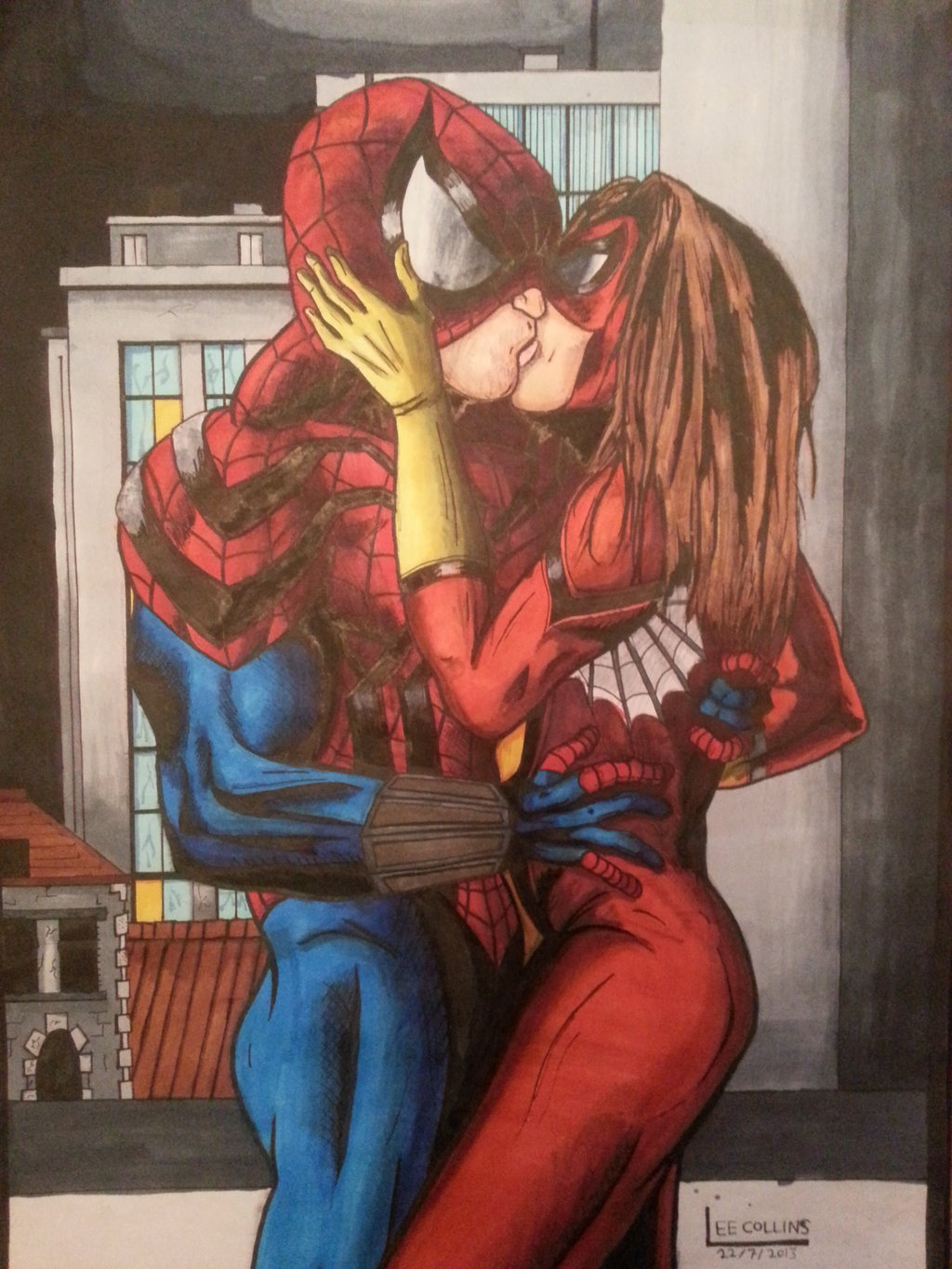 Drawn spiderman spiderwoman Skoolnik spider kissing on colour