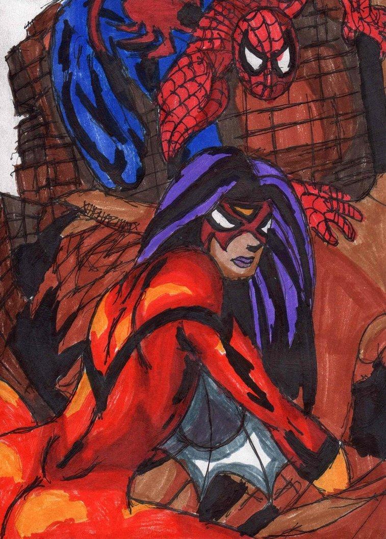 Drawn kisses spider woman Spider Woman Woman Man Spiderman