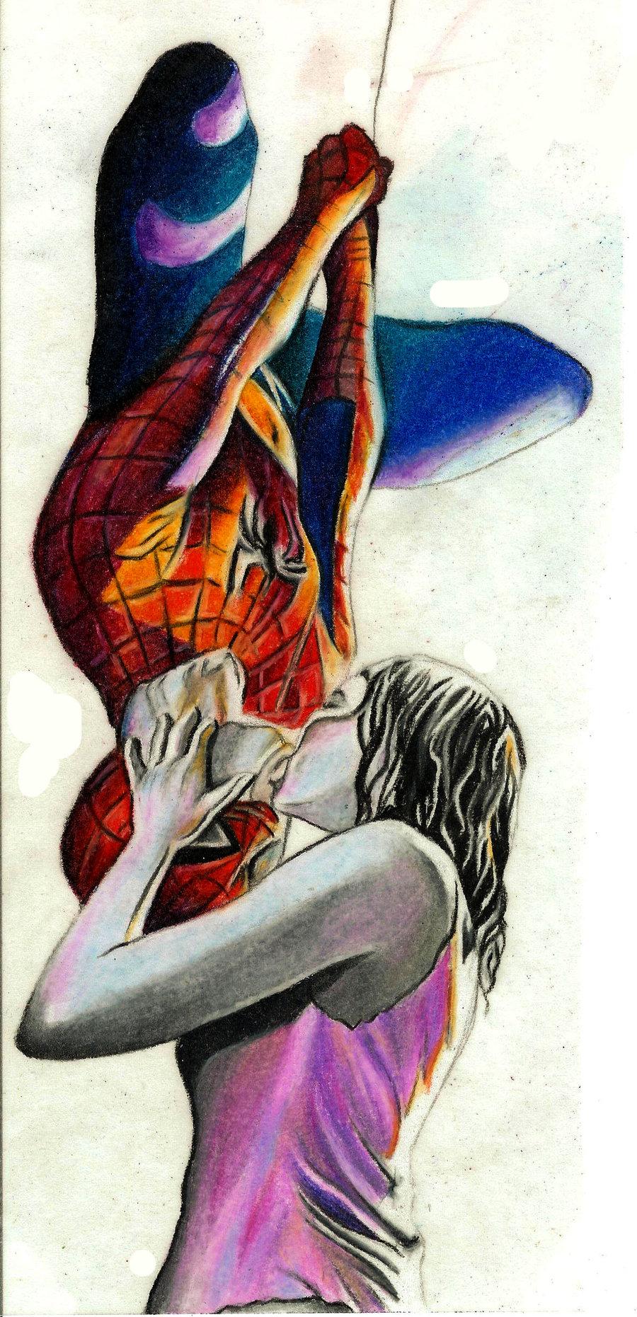 Drawn rain kiss Spiderman Kiss by DeviantArt on