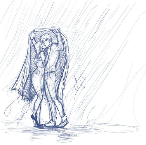 Drawn rain vector background Ideas Cute Kissing on rain