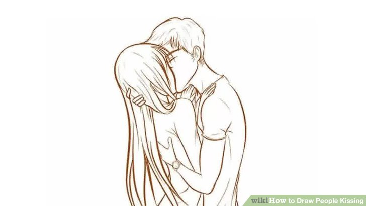 Drawn kisses sketch Step People Image Kissing wikiHow