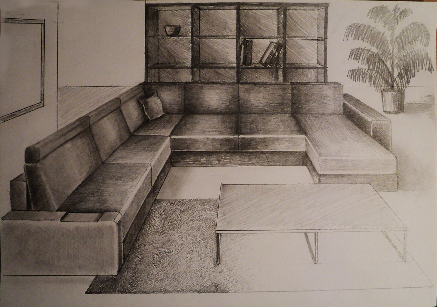 Drawn room pencil drawing To perspective point One to