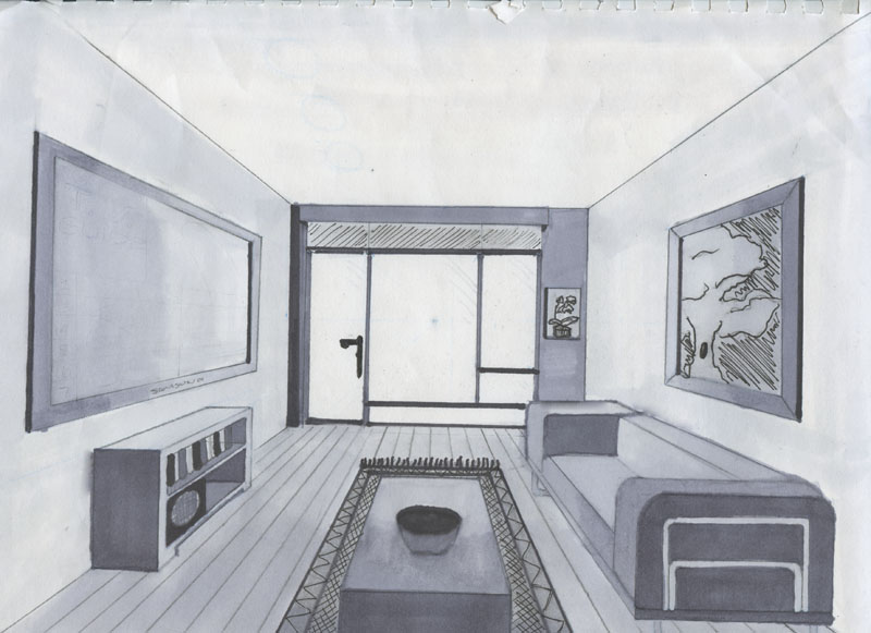 Drawn room interior Perspective Drawings perspective  Pinterest